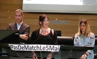 Josepha Giudicelli, présidente du «collectif des victimes du 5 mai 1992», lors d'une conférence sur le supportérisme, le 4 mai 2019.