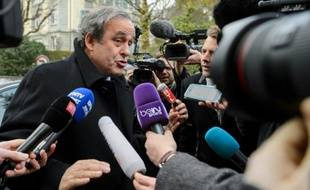 Michel Platini à son arrivée le 8 décembre 2015 au Tribunal arbitral du sport (TAS) à Genève