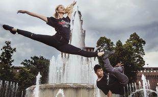 Virginia Tomarchio et Willy Hem du groupe Flying Steps à Milan, en Italie.