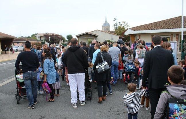 Rentrée scolaire à l'école maternelle de Ludon-Médoc (Gironde) le 4 septembre 2017