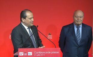 Jean-François Cambadélis et Jean-Michel Baylet lors de la conférence de presse du 27 juillet 2015.