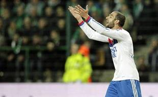 L'attaquant lyonnais Lisandro Lopez, le 17 mars 2012, à Saint-Etienne.