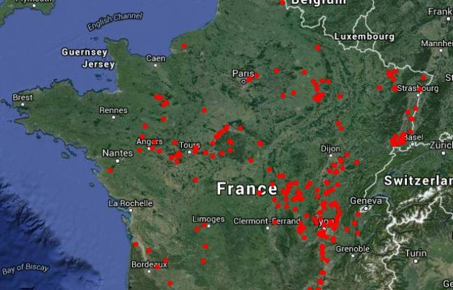 La carte de France de la présence du goujon asiatique