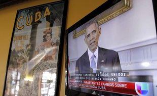 Barack Obama à la télévision le jour de son discours historique annoncant le dégel des relation sdiplomatiques avec Cuba