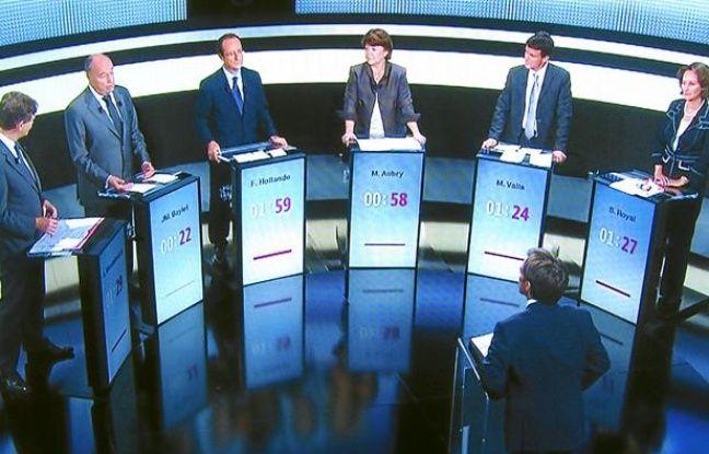 Les six candidats au débat organisé par le PS dans le cadre de ses primaires citoyennes, sur France 2, le 15 septembre 2011.