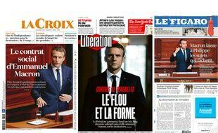Unes de la presse du 4 juillet 2017 au lendemain du discours à la tribune du Congrès à Versailles d'Emmanuel Macron.