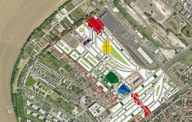 Les limites du futur quartier Bastide Niel à Bordeaux