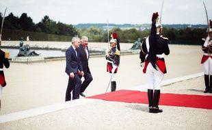François de Rugy, président LREM de l'Assemblée nationale, et Gérard Larcher, président LR du Sénat, lors de la réunion du Parlement en congrès à Versailles le 3 juillet 2017