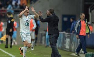 Florian Thauvin et Franck Passi lors de la victoire de l'OM face à Sochaux en Coupe de France, le 20 avril 2016.