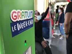 Dans un tram de la la ligne 1 à Nantes, le dimanche 25 avril 2021