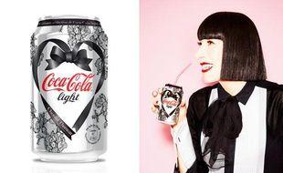 La canette de Coca-Cola light imaginée par Chantal Thomass et la créatrice de lingerie.