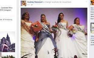 Capture d'écran de la page Facebook d'Audrey Kessouri, Miss ronde Alsace 2016