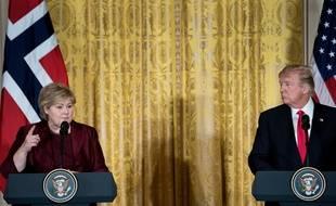 Donald Trump avec la Première ministre norvégienne, Erna Solberg, le 10 janvier à la Maison Blanche.