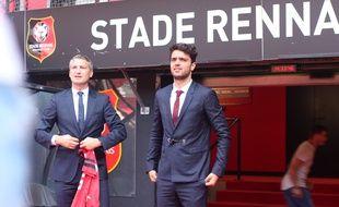 Clément Grenier et le président du Stade Rennais Olivier Létang, lors de la présentation du joueur le 24 juillet 2018 au Roazhon Park.