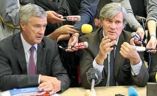 Le préfet Patrick Strzoda (à g.) avec Stéphane Le Foll en novembre 2013.