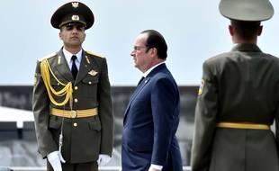 François Hollande en Arménie pour le 100e anniversaire du génocide arménien, le 24 avril 2015.