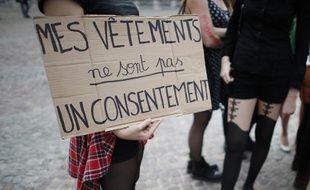 Une manifestante, lors de la «Marche des salopes» parisienne du 28 septembre 2013.