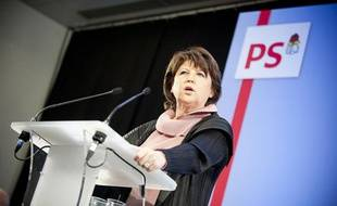 Martine Aubry, lors de ses voeux, le 10 janvier 2011, au siège du PS.