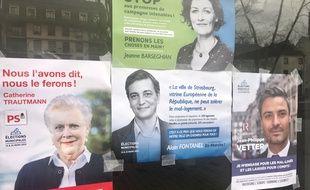 Des fausses affiches électorales conçues par le collectif artistique «boijeot renauld» pour interpeller les candidats sur le mal-logement à Strasbourg.