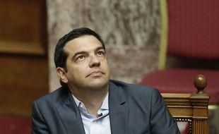 Le Premier Ministre Alexis Tsipras au Parlement grec vendredi 14 août lors du vote du plan d'aide à la Grèce.