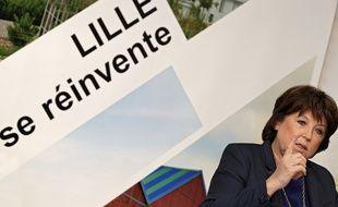 La maire de Lille, Martine Aubry, lors de sa conférence de presse de rentrée.