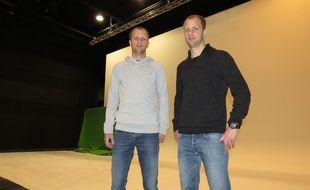 A Tourcoing, le 9 novembre 2016 - Dave et Cedric Decottignies, les deux fondateurs d'ACFX, societe qui gere le studio de cinema.