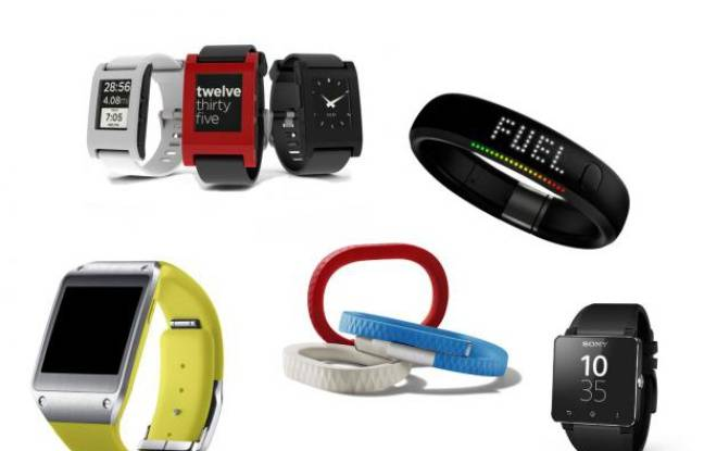 Plusieurs smartwatches et des bracelets pour mesurer son activité physique.