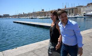 Benoît Payan et Michèle Rubirola sur le Vieux-Port