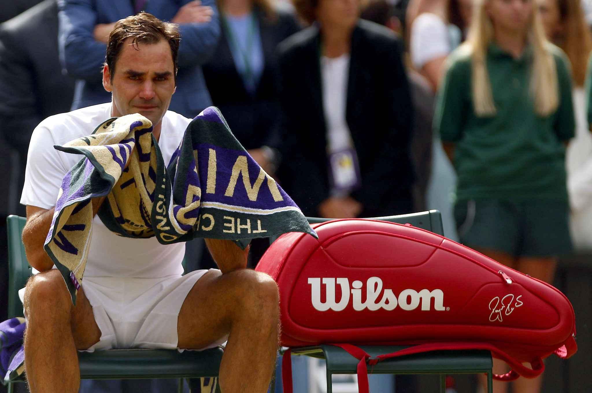 Mandatory Credit: Photo by Ella Ling/BPI/REX/Shutterstock (8962346hu) Roger Federer of Switzerland cries following the Men's Final Wimbledon 2017, Day 13, All England Lawn Tennis Club, London UK, 16 July 2017