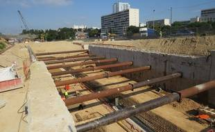 Marseille, le 23 juin 2015, le chantier de la rocade L2.