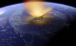 Vue d'artiste de l'impact survenu il y a 65 millions d'années ayant causé le cratère de Chicxulub et sans doute provoqué l'extinction des dinosaures.