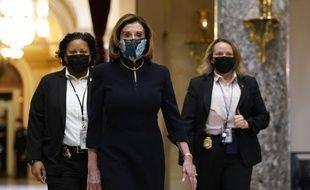 La Speaker démocrate de la Chambre des représentants, Nancy Pelosi, avant le vote sur l'impeachment de Donald Trump, le 13 janvier 2021.