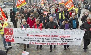 Manifestation des retraités contre le système de revalorisation des retraites complémentaires, à Paris le 28 mars 2013.