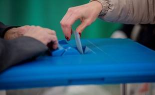 Une votante à Lyon.Le 22 janvier 2017. Credit:KONRAD K./SIPA
