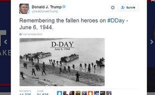 Capture d'écran du compte Twitter de Donald Trump @realDonaldTrump, le 6 juin 2016, se trompant sur la date du cliché publié.