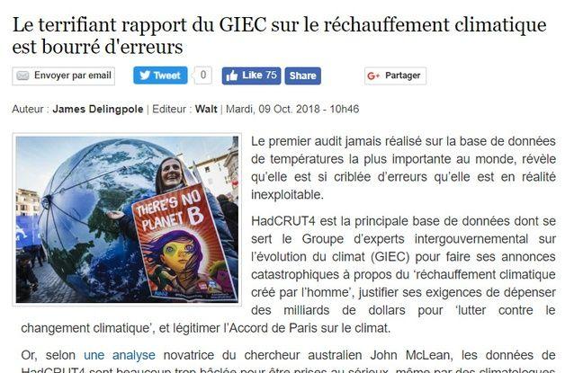 Un extrait de l'article traduit de Breitbart News, qui remet en question le travail du Giec.