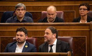 Oriol Junqueras, le président du parti Gauche républicaine de Catalogne (ERC) (en bas à droite) lors de la session inaugurale du parlement espagnol, le 21 mai 2019, à Madrid.