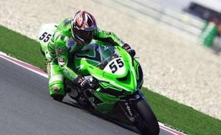 Le pilote de moto français Régis Laconi lors de la manche de Superbike de Doha, le 22 février 2007.