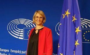 Marie-Pierre Vedrenne au Parlement européen, son futur lieu de travail.