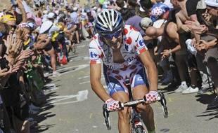 L'Italien Franco Pellizotti en train de grimper le Mont Ventoux lors du Tour de France, le 25 juillet 2009
