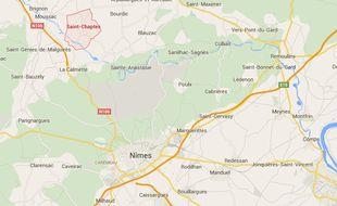 Localisation de la commune de Saint-Chaptes (Gard).