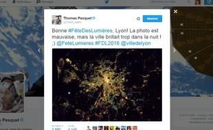 Capture d'écran du tweet de Thomas Pesquet le 8 décembre 2016