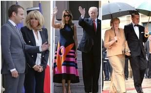 Les couples présidentiels français, américains et la chancelière allemande avec son époux.
