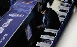 Nasser Al-Khelaïfi, le président du PSG, dans les tribunes du Parc des Princes lors d'un match contre Rennes, le 19 avril 2019.