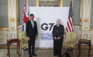 Le ministre des finances britannique Rishi Sunak, à gauche, rencontre son homologue américaine Janet Yellen, à Londres, le jeudi 3 juin 2021.