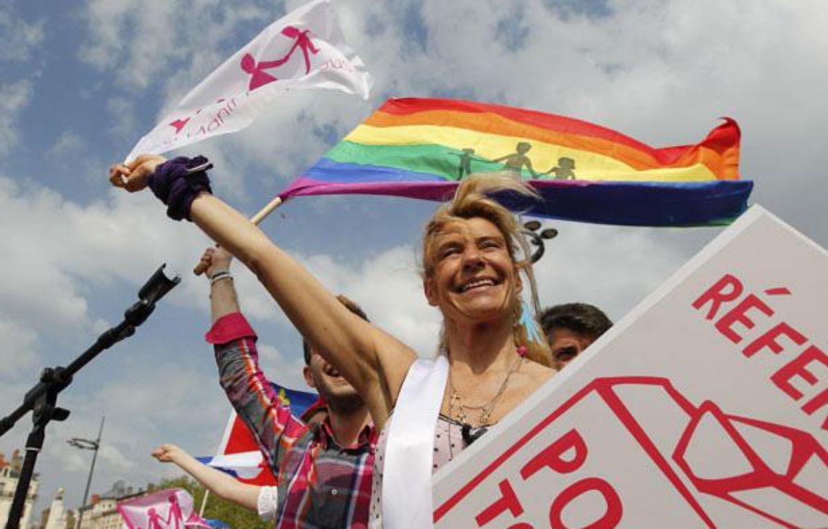 Lyon, le 5 mai 2013. Manifestation contre le mariage pour tous, ici Frigide Barjot.  –  CYRIL VILLEMAIN/20 MINUTES