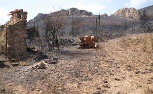 Le domaine de la Greffière, détruit par le feu, à Tuchan