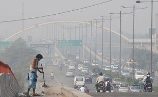 Illustration de la pollution à New Dehli, capitale affichant le plus fort taux de pollution aux particules fines.