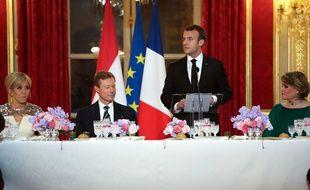 Dîner organisé à l'Elysée par le couple Macron en l'honneur du Grand-Duc Henri et de la Grande-Duchesse Maria Teresa de Luxembourg, le 19 mars 2018.