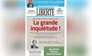 La une du quotidien algérien «Liberté» après l'arrestation de plusieurs personnes dont l'un de ses journalistes, le 13 septembre 2021.